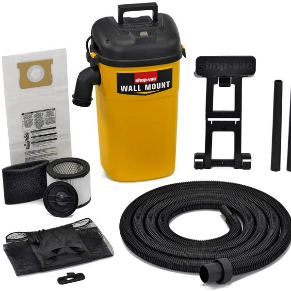 Shop-Vac 3942300 5 gallon 4.0 Peak HP Wall Mount WetDry Vacuum YellowBlack Hands-Free Vacuum with Accessories Type AA Cartridge Filter & Type CC Foam Sleeve & Type O Filter Bag